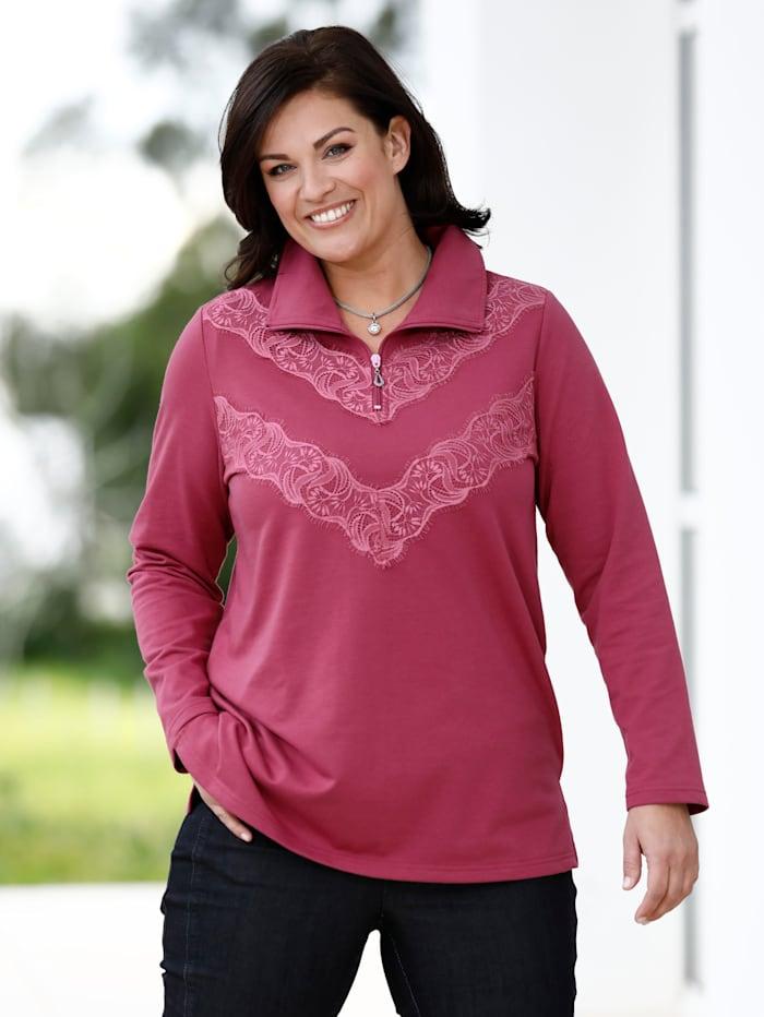 m. collection Sweatshirt mit Spitze besetzt, Pink