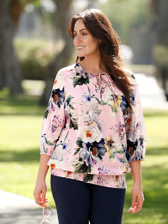 m. collection Blouse met bloemendessin, Roze