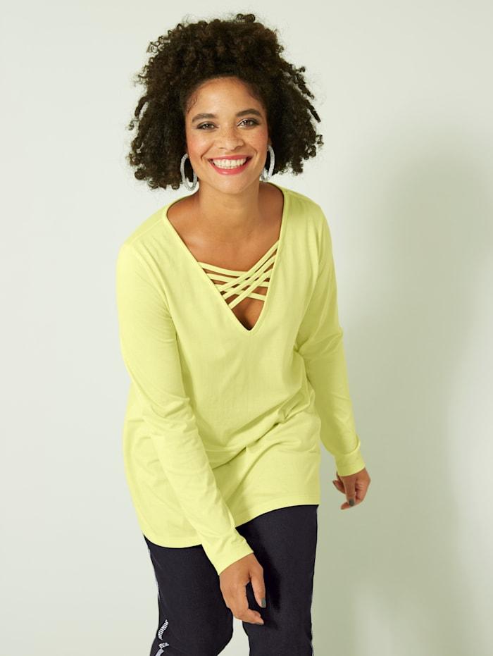 Angel of Style Shirt mit Schnürung, Neongelb