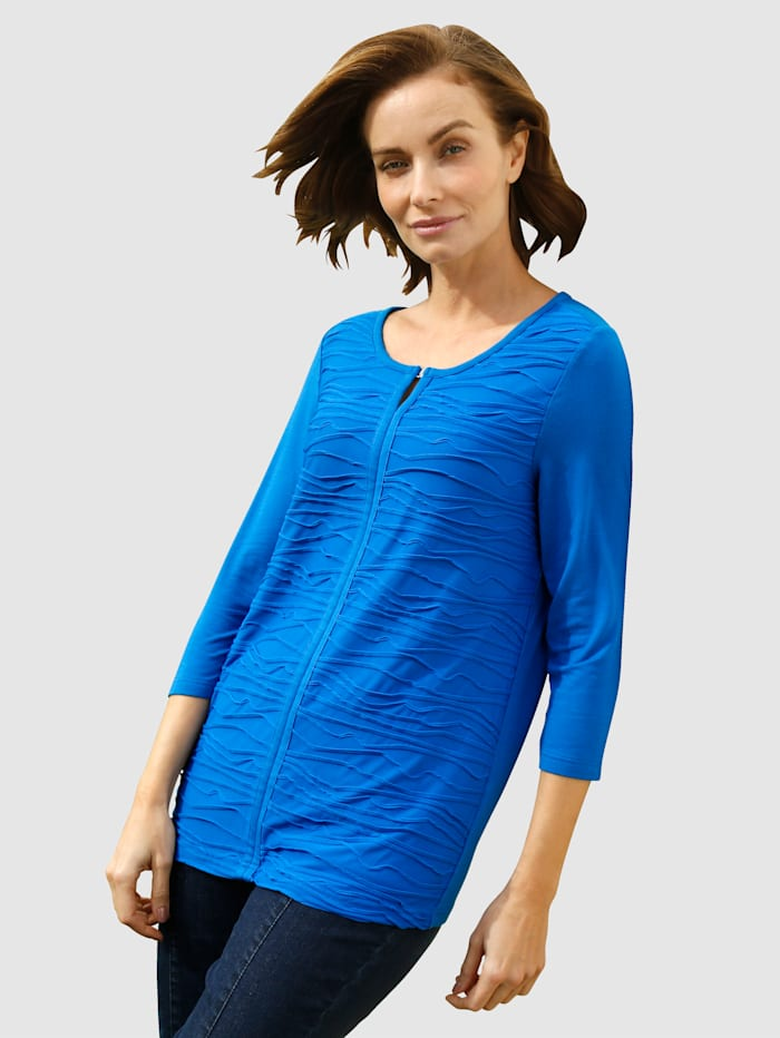 Paola Shirt mit Schmuckelement am Ausschnitt, Royalblau