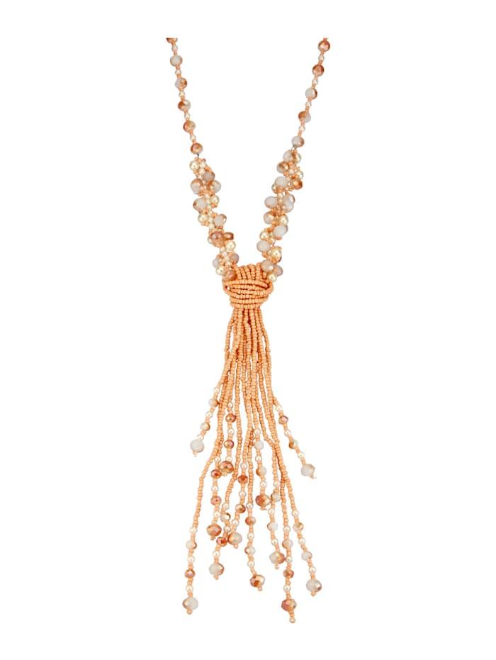 KLiNGEL Halskette aus Glas, Apricot