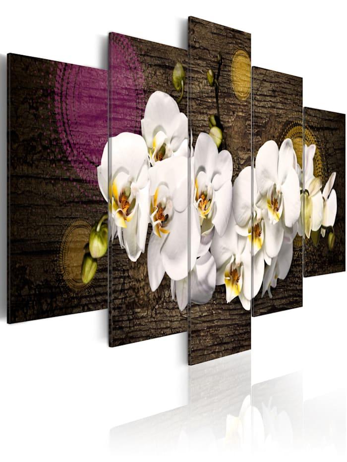 artgeist Wandbild Wie eine weiße Wolke - 5 Teile, Braun,Violett,Weiß,Gelb