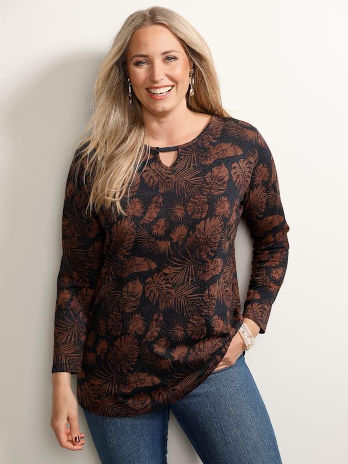 MIAMODA Shirt mit kleiner Aussparung am Ausschnitt, Rost/Rot/Marineblau