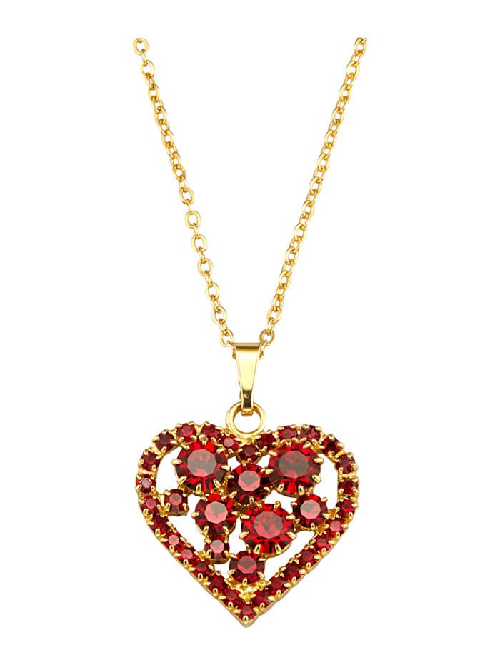 Golden Style Herz-Anhänger mit Kette mit Kristallen, Rot