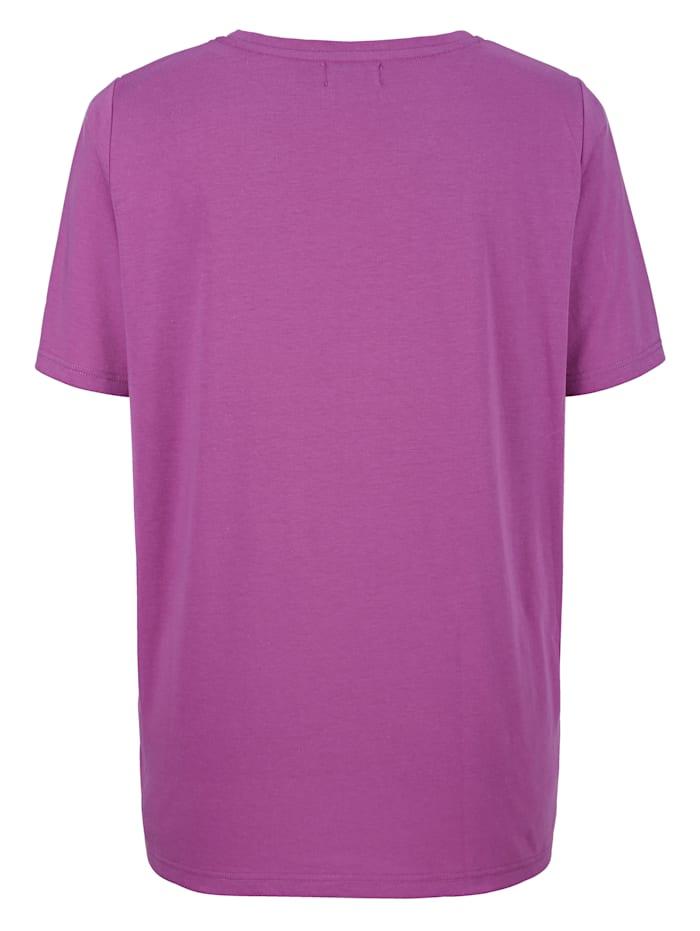 Shirt mit aufwendiger Plättchendekoration am Rundhals