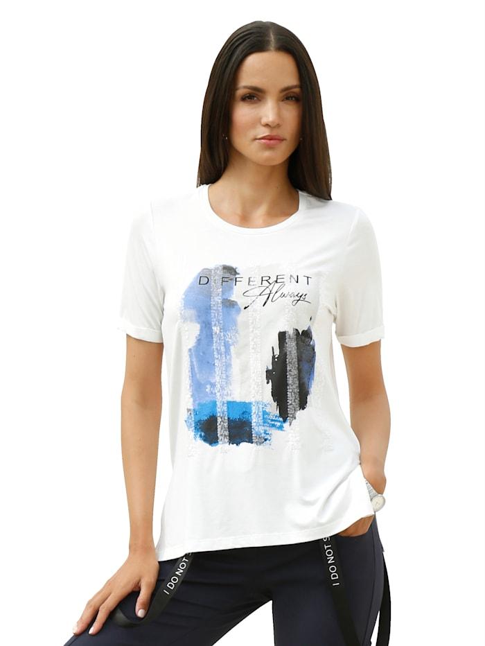 AMY VERMONT Shirt mit Druck im Vorderteil, Weiß/Blau