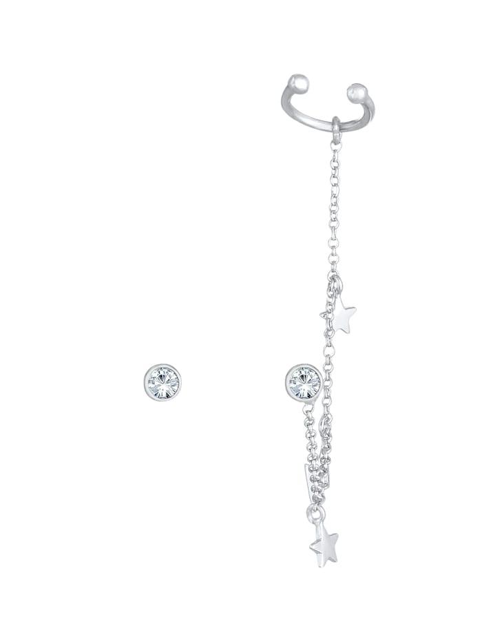 Ohrringe Stecker Kristalle Earcuff Stern Blitz 925 Silber
