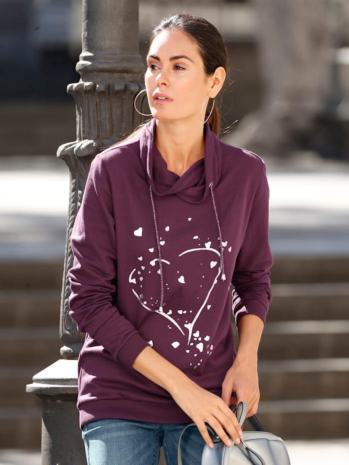 Laura Kent Sweatshirt mit Foliendruck, Beere