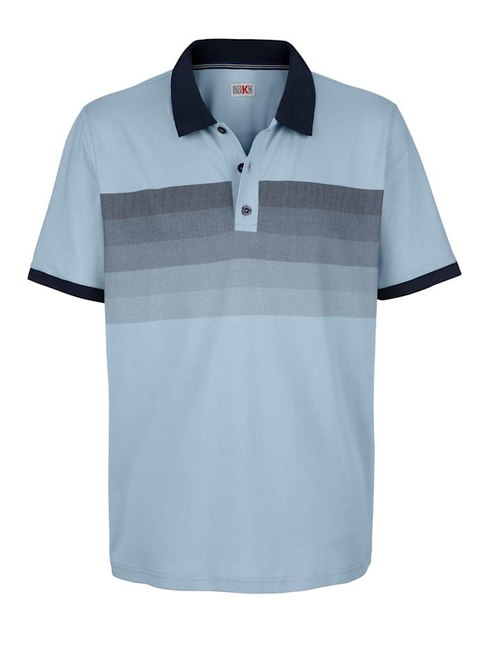 Roger Kent Poloshirt mit Druck auf der Brust, Hellblau