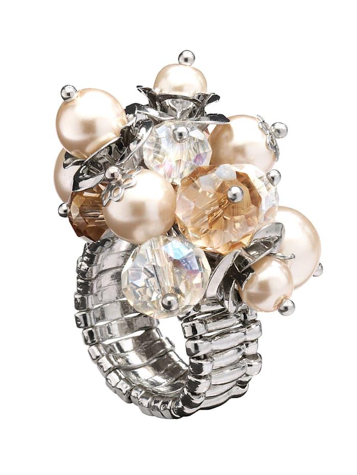 Damenring mit imit. Perlen