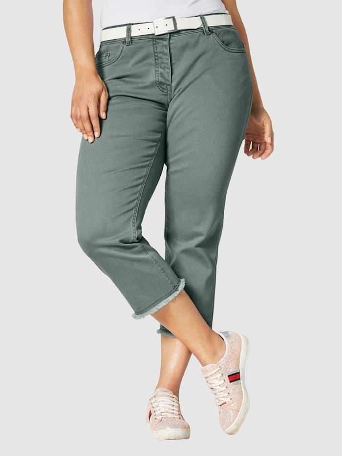 Angel of Style 7/8-Jeans mit ausgefranstem Saum, Khaki