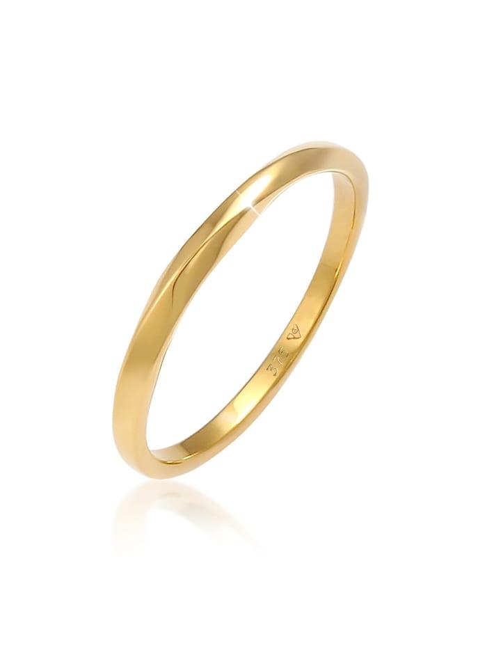 Elli Premium Ring Basic Bandring Twist Gedreht Trend 375 Gelbgold, Gold