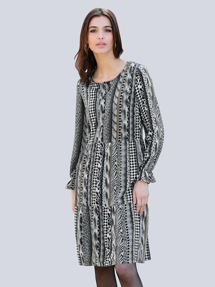 Alba Moda Kleid mit Allover-Print, Grau/Khaki