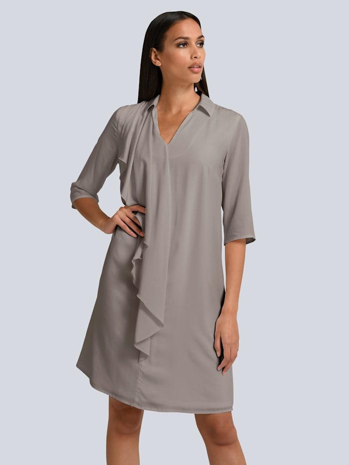 Alba Moda Kleid mit femininem Volant vorne, Taupe