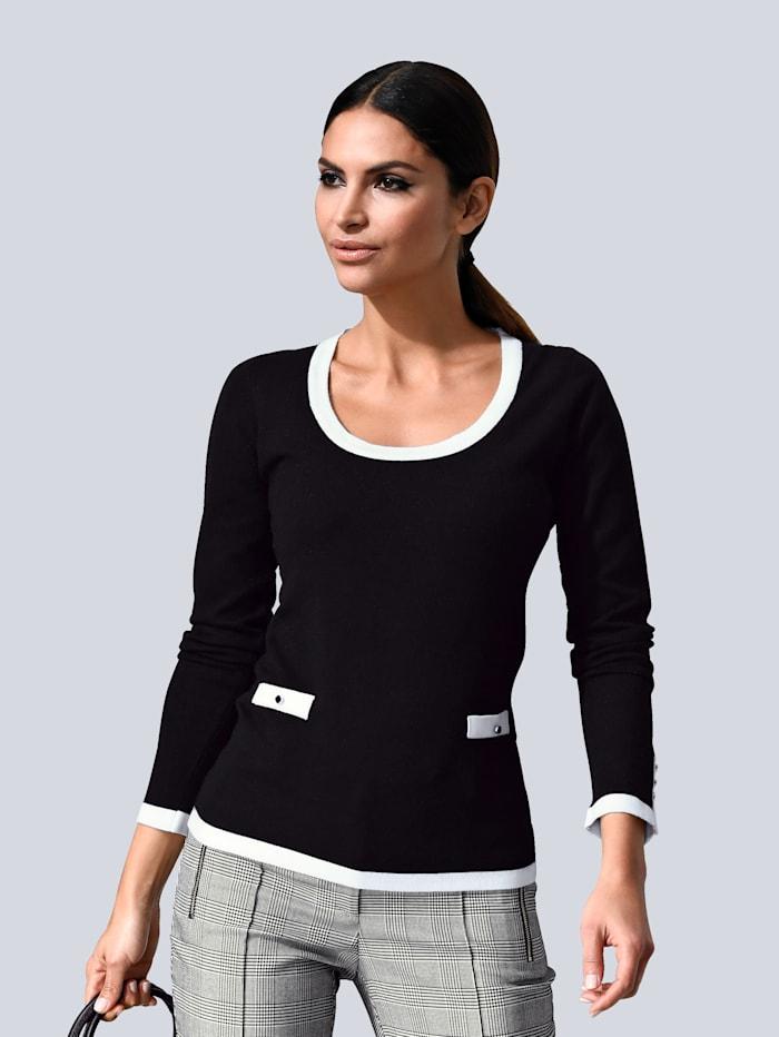 Alba Moda Pullover mit kontrastfarbenen Paspeln, Schwarz/Weiß