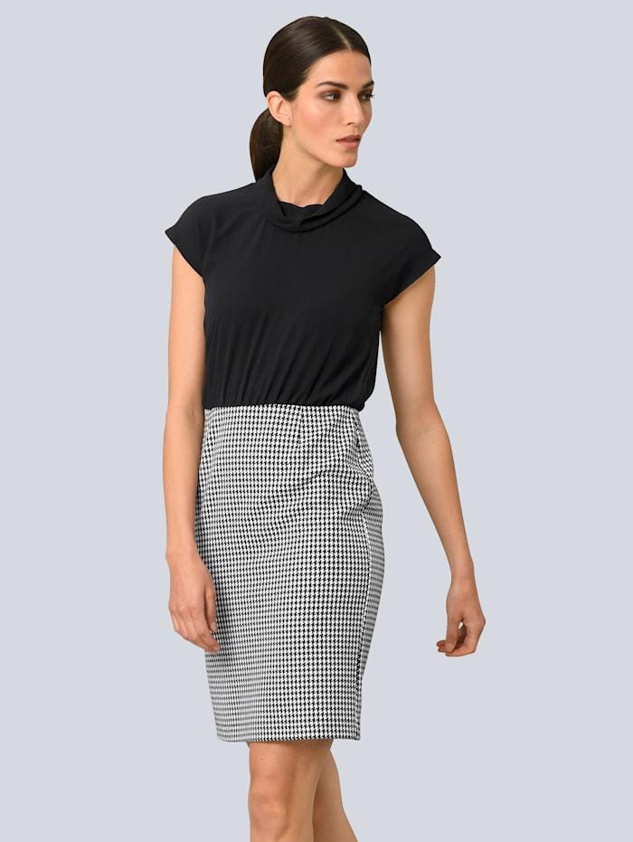 Alba Moda Kleid in zwei geteilter Optik, Schwarz/Weiß