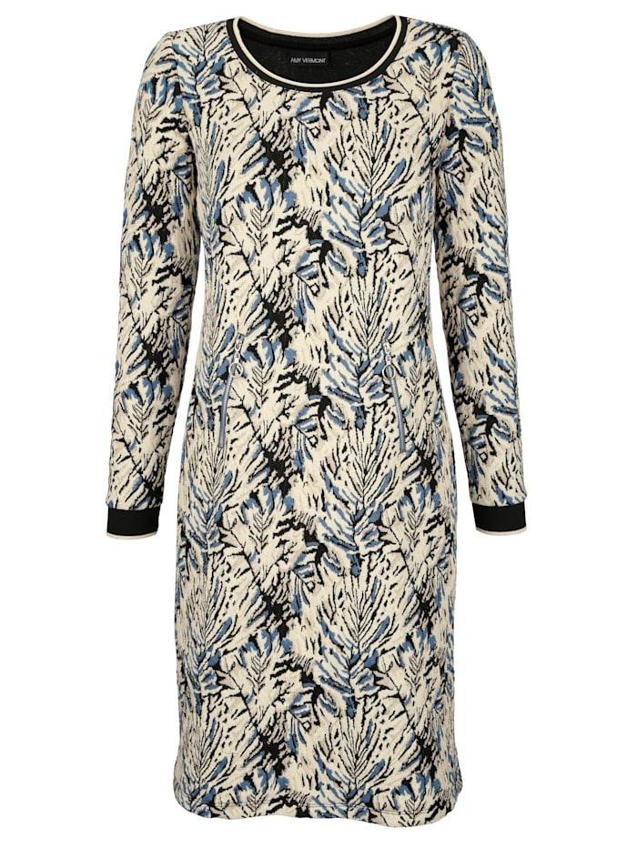 AMY VERMONT Jerseykleid mit metallisiertem Garn, Schwarz/Beige/Blau