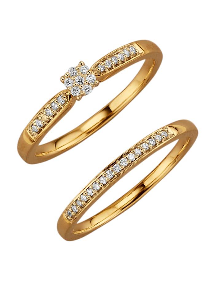 Diemer Diamant 2tlg. Damenring-Set mit Brillanten, Gelbgoldfarben