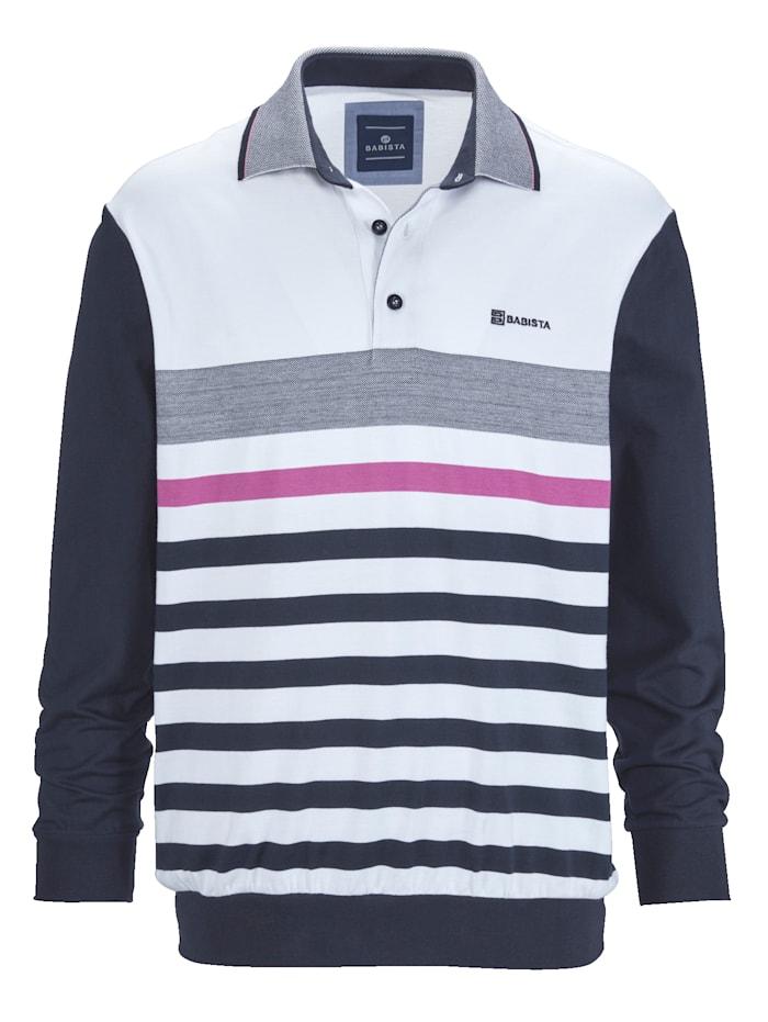 BABISTA Sweat-shirt d'aspect jacquard, Rose/Marine/Blanc