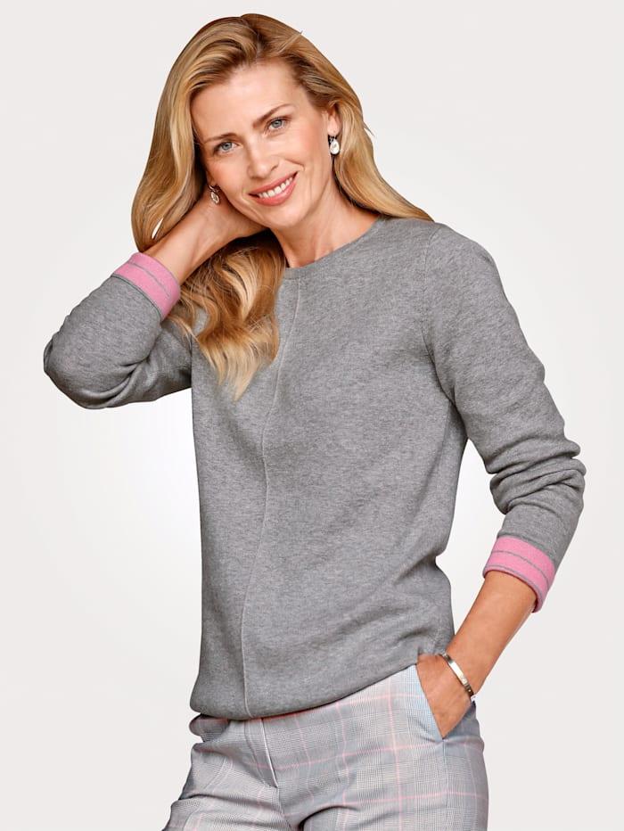 MONA Pullover in Kontrast-Verarbeitung, Grau/Rosé