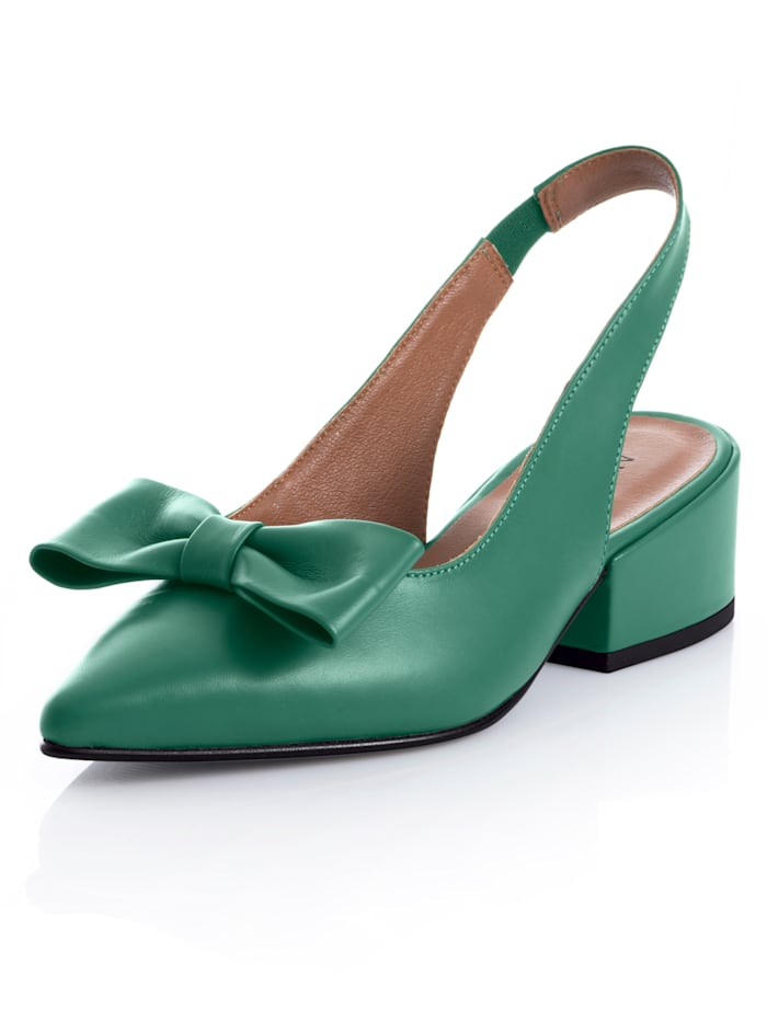 Alba Moda Slingpumps aus hochwertigem Ziegenleder, Grün