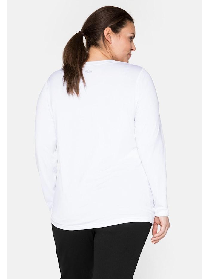 Sheego Funktions-Langarmshirt mit reflektierendem Rückendruck