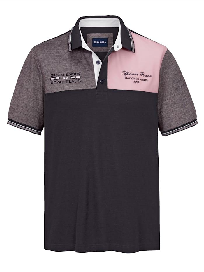 BABISTA Poloshirt mit kontrastfarbenen Einsätzen im Vorderteil, Marineblau/Rosé