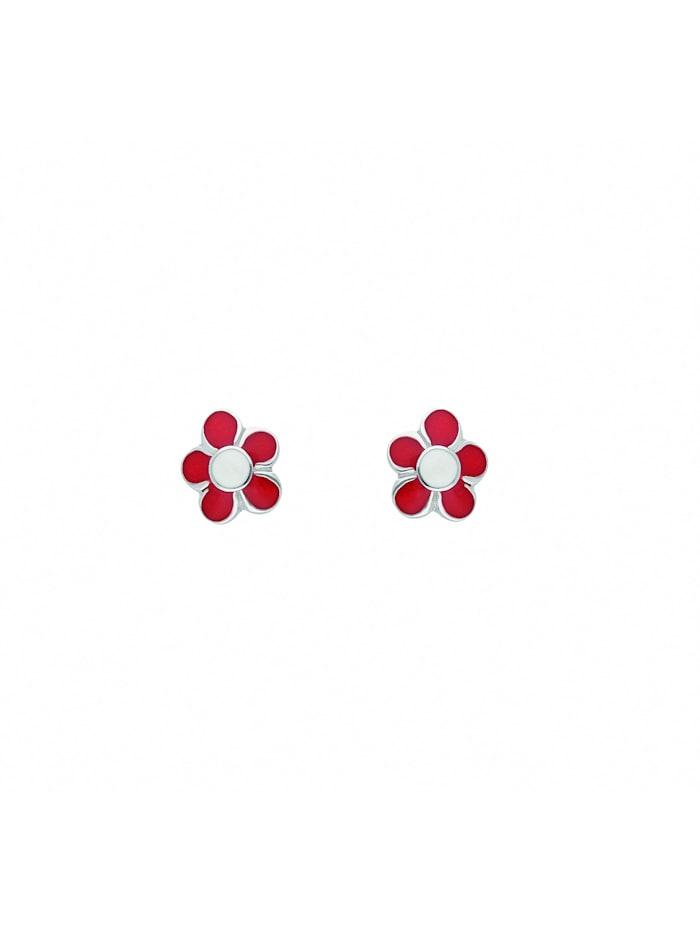 1001 Diamonds Damen Silberschmuck 925 Silber Ohrringe / Ohrstecker Blüte - rot, silber