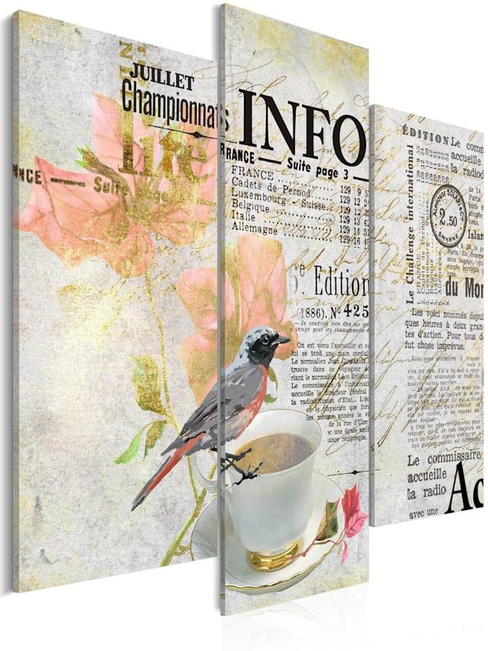 artgeist Wandbild Morning newspaper, Schwarz,Creme,Gold,rosa