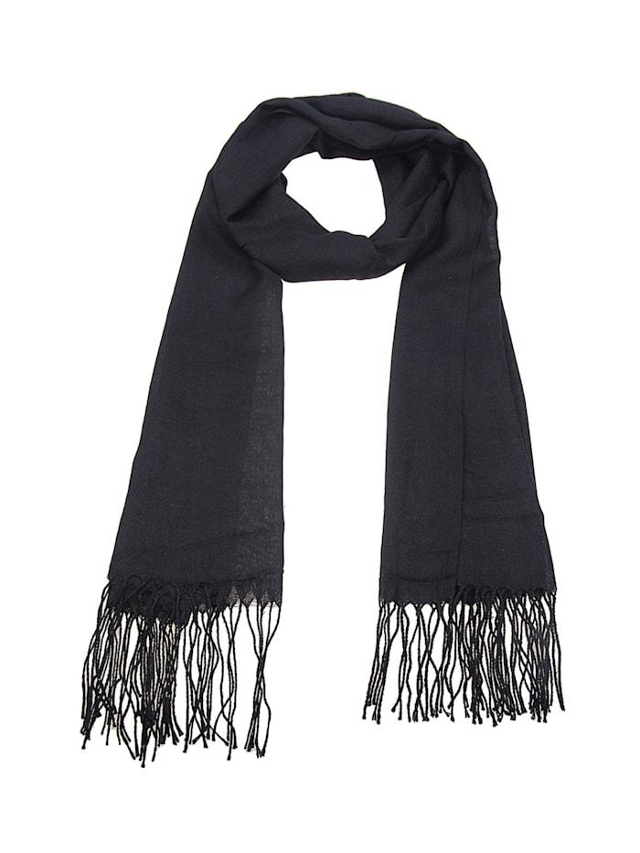 Leslii Schal Uni Trend mit gedrehten Fransen, schwarz