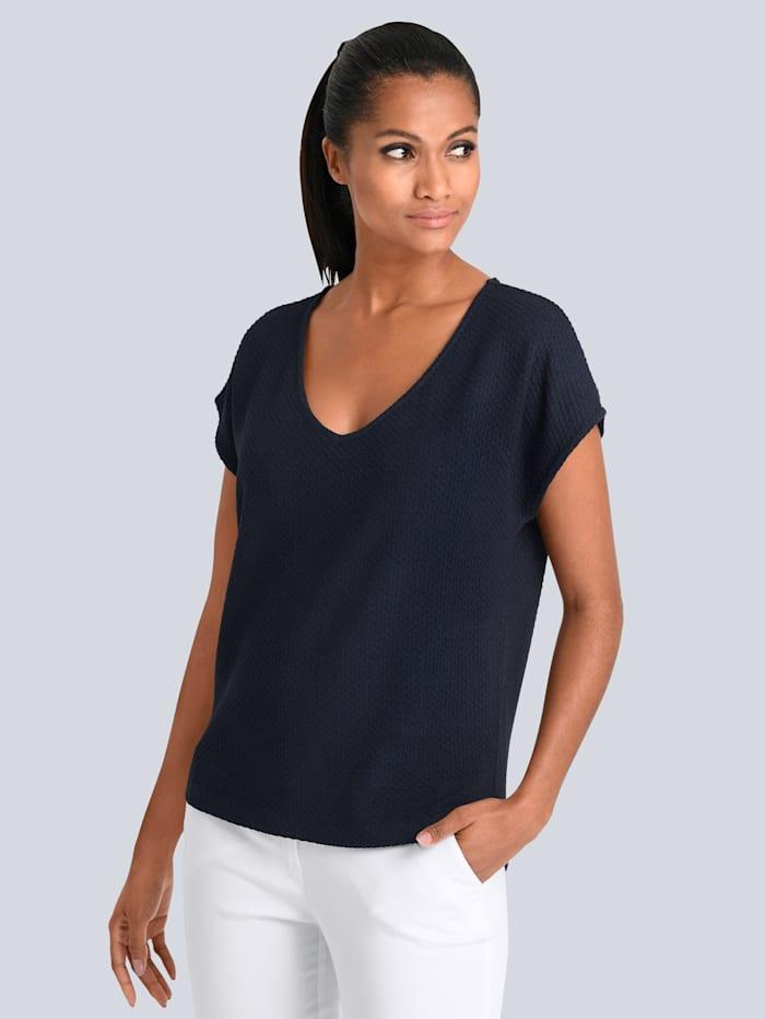 Alba Moda Shirt in schöner strukturierter Ware, Marineblau