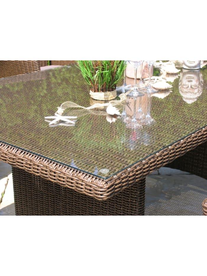 Rattan Tisch Ibiza 90x90cm mit  Glasplatte Polyrattan Gartentisch