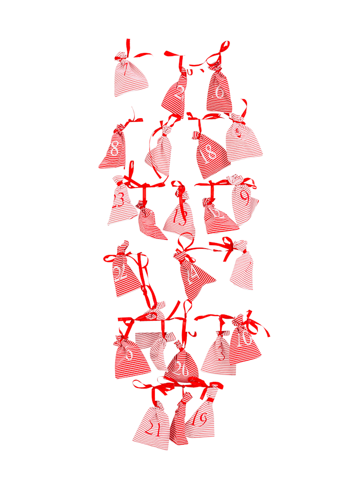 IMPRESSIONEN living Adventskalender-Set mit Leiter, Weiß/Rot