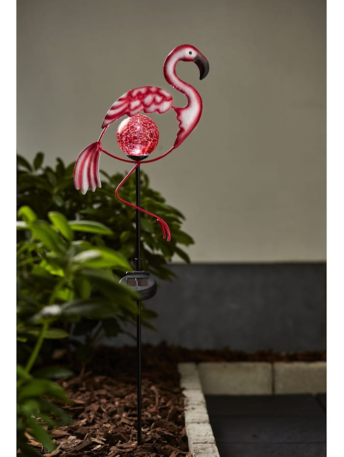 LED Solargartenstab Flamingo