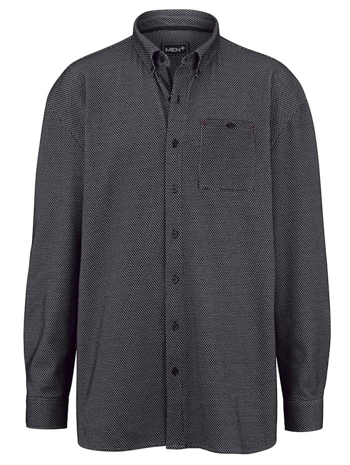 Men Plus Hemd in Jersey Qualität, Schwarz/Weiß