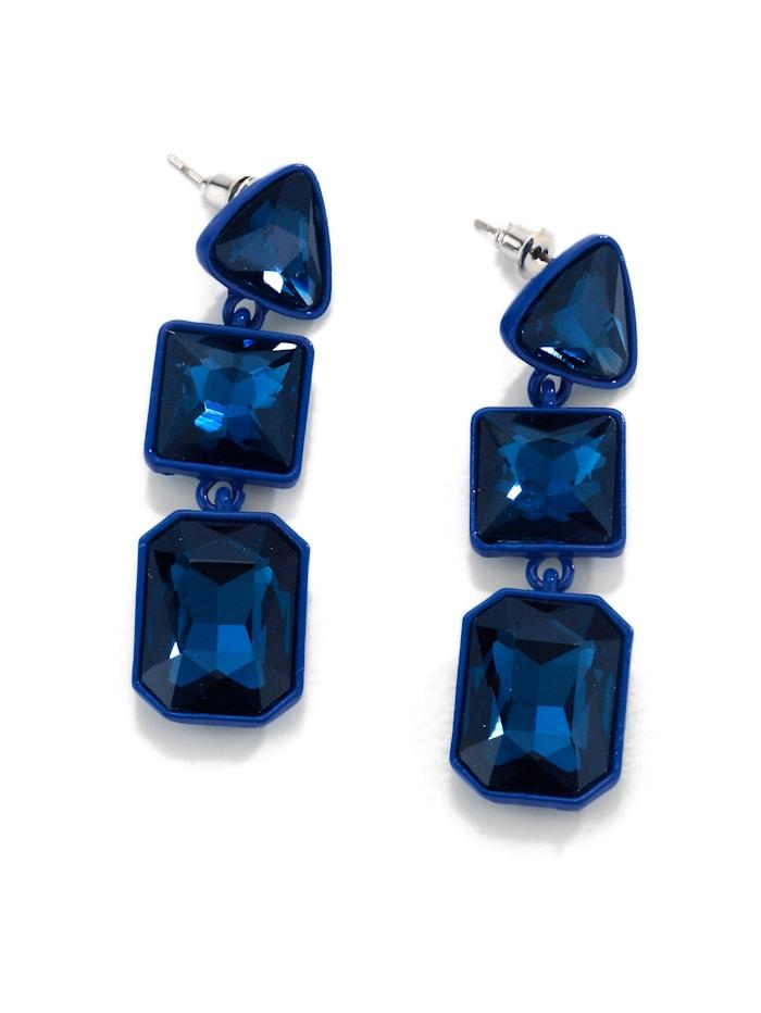 Alba Moda Ohrhänger aus Glassteinen, Blau