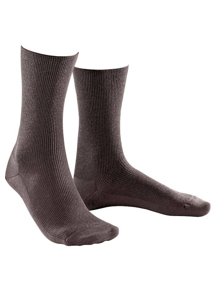 Weissbach Socken ohne einschneidenden Gummibund, Braun
