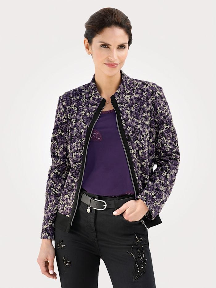 MONA Blouson en jersey structuré, Lilas/Noir/Coloris or