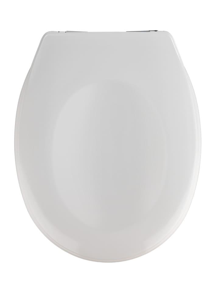 Wenko WC-Sitz Savio, aus antibakteriellem Duroplast mit Absenkautomatik, Weiß, Befestigung: Chrom