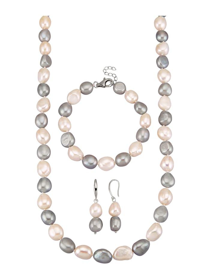 Diemer Perle 3tlg. Schmuck-Set aus Süßwasser-Zuchtperlen, Weiß