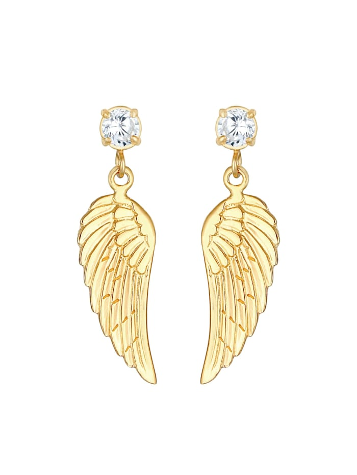 Ohrringe Flügel Glücksbringer Zirkonia Hänger 925 Silber