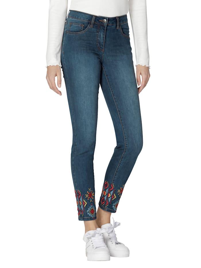 AMY VERMONT Jeans mit Stickerei am Saum, Blue stone