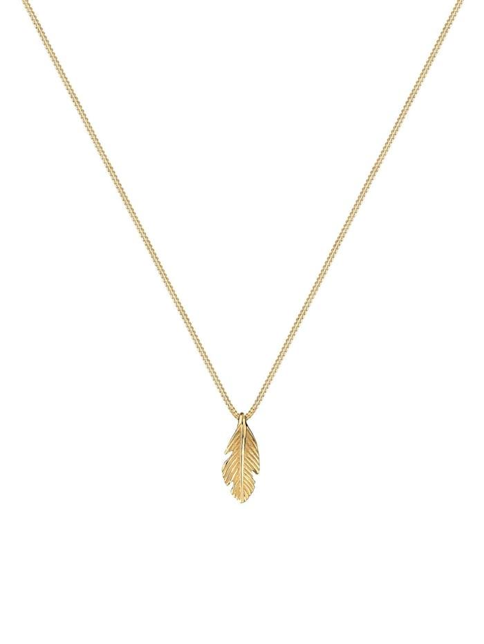 Halskette Feder Boho Look Luxuriös 585 Gelbgold