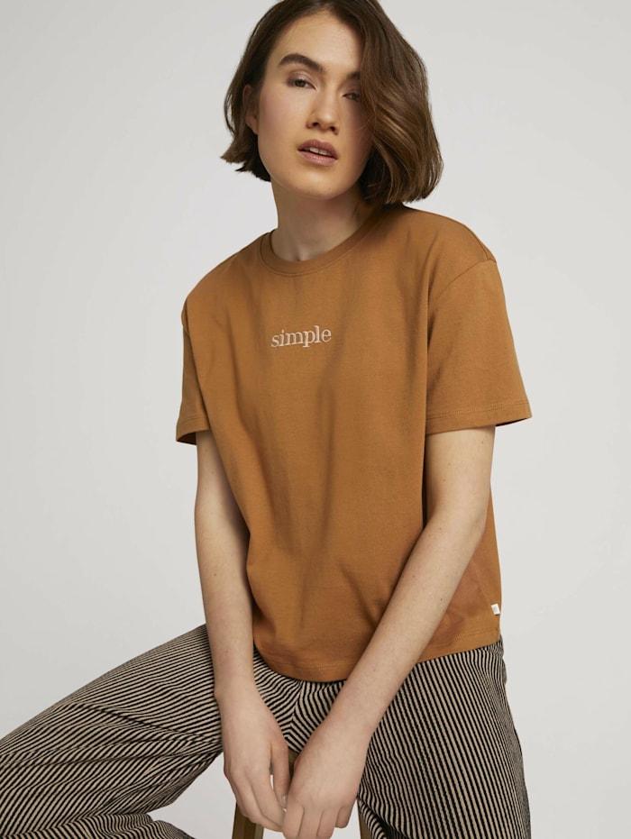 Tom Tailor Denim Cropped T-Shirt mit Bio-Baumwolle, soft camel