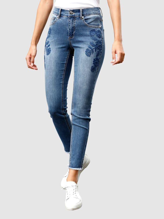Laura Kent Jeans in smal model met bloemenborduursel, Blue bleached