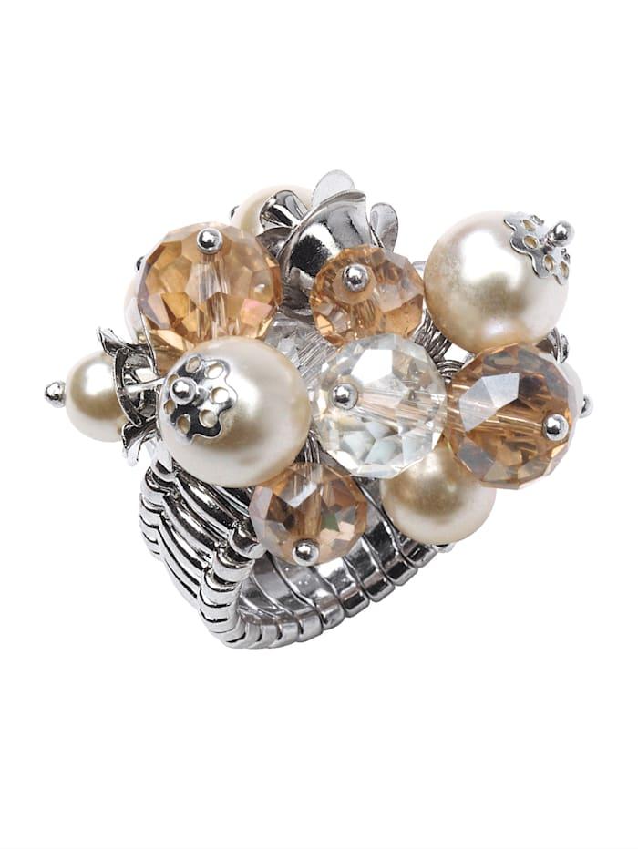 KLiNGEL Damenring mit imit. Perlen, Weiß