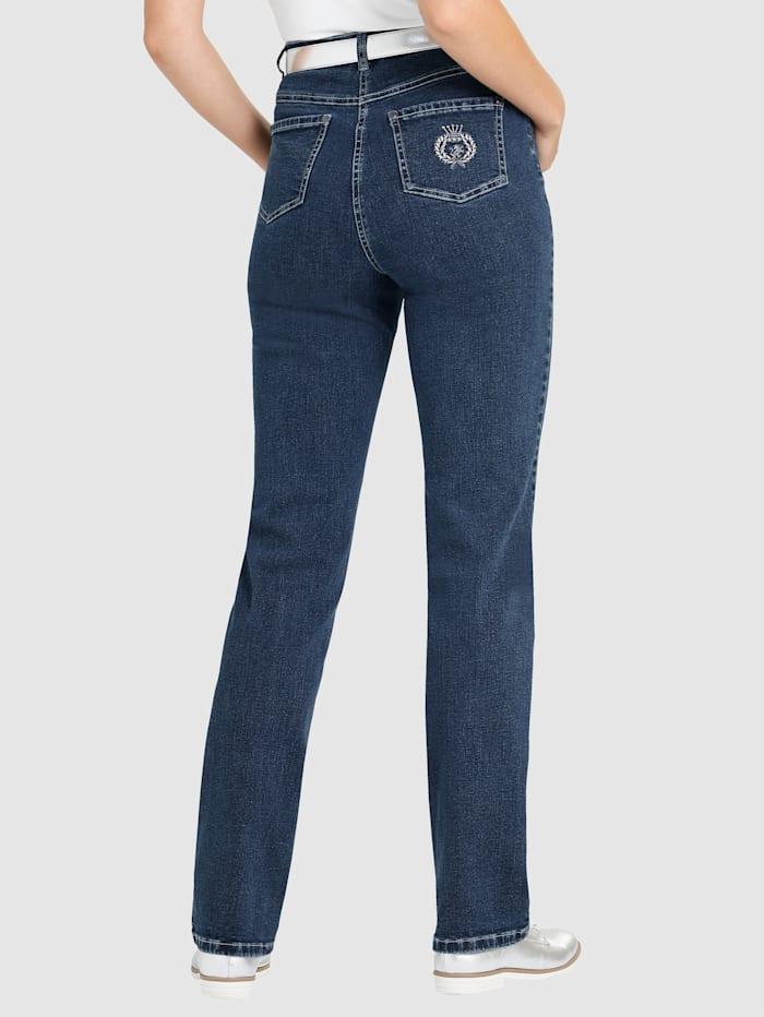 Raka jeans med broderi på bakfickan med bekväm passform