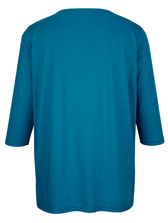 Shirt mit Glitzerdruck entlang des Ausschnitts