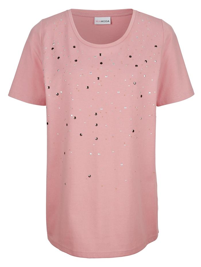 MIAMODA Tričko s nýty, Růžová
