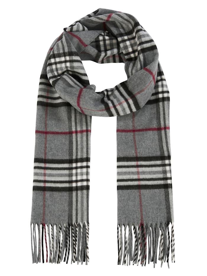 Fraas Cashmink-Schal, grau-schwarz-rot